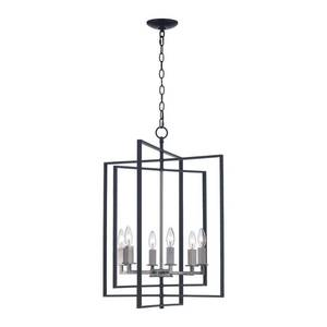 Monteaux Lighting Monteaux 6-Light Black and Brushed Nickel Caged Chandelier with Metal Shade