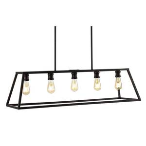 "JONATHAN Y Floyd 38"" 5-Light Adjustable Iron Farmhouse Vintage LED Dimmable Pendant, Oil Rubbed Bronze"