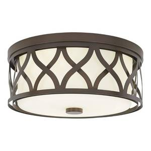 Home Decorators Collection 3-Light Harvard Court Bronze Flush Mount with Etched White Glass