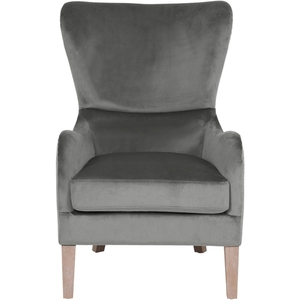 Olivet Two-Toned Wingback Chair Gray Velvet and Linen - Adore Decor