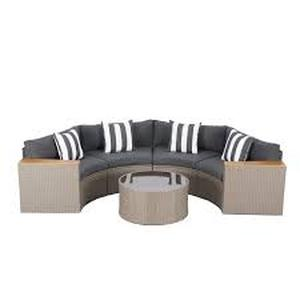 Nuon Outdoor 5-piece Round Wicker Sectional Sofa Set by Havenside Home- Retail:$1004.49 4 boxes grey
