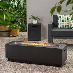 Wellington Outdoor Rectangular Firepit only with Lava Rocks by Christopher Knight Home- Retail:$495.99