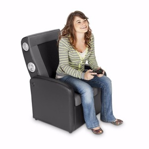 X Rocker 2.1 Flip Gaming Chair with Storage, Black/Gray