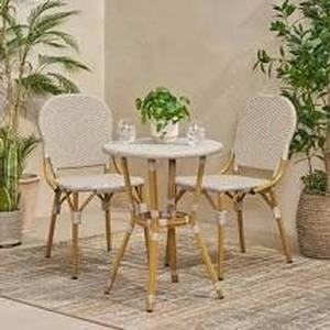 Arthur Outdoor Aluminum and Wicker Outdoor French Bistro Set by Christopher Knight Home- Retail:$291.49