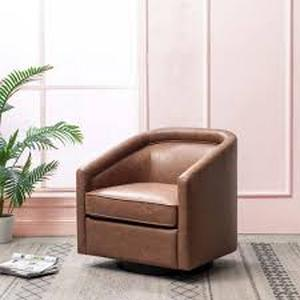 Cotter Hime Faux Leather Swivel Barrel Chair