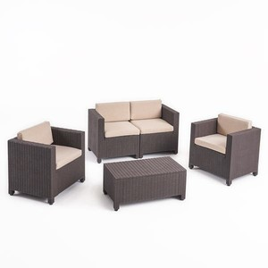 Waverly Outdoor 4-seater All-weather Chat Set with Cushions by Christopher Knight Home - Dark Brown + Beige Cushion