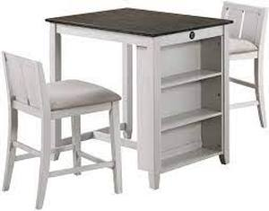 New Classie Furniture Heston Dining Set Counter Height Table w/2 chairs- White/Grey