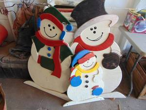 3 Wooden Cut out Snowmen