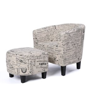 BELLEZE Modern Barrel Accent Chair with Ottoman Linen Round Arms Footrest Set
