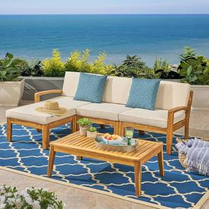 Grenada Outdoor 3-Seater Acacia Wood Frame Sectional Sofa Set with Water-Resistant Cushion by Christopher Knight Home- Retail:$699.99