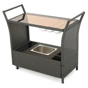 Bahama Outdoor Wicker Bar Cart with Glass Top by Christopher Knight Home- Retail:$241.49