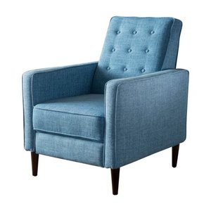 Mervynn Mid-Century Button Tufted Fabric Recliner Club Chair by Christopher Knight Home - Retail:$270.32