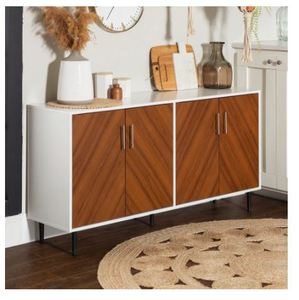 Carson Carrington Cassandra Modern Buffet - White / Acorn Bookmatch- Retail:$279.98