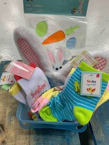 Small Blue Plastic Square Basket & Kid Sock Bundle