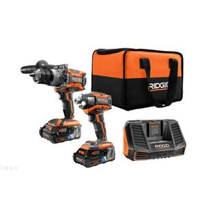 RIDGID 18-Volt OCTANE Lithium-Ion Cordless Brushless Combo Kit with Hammer Drill, Impact Driver, (2) 3.0 Ah Batteries, Charger.Retail Price $299.99