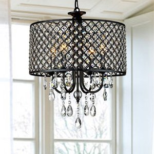 Pluto Crystal 4-light Dimmable Drum Chandelier- Retail:$123.99