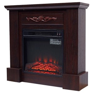 HOMCOM Electric Fireplace Freestanding Heater 1400w Artificial Flame Effect - Dark Brown-$350.00