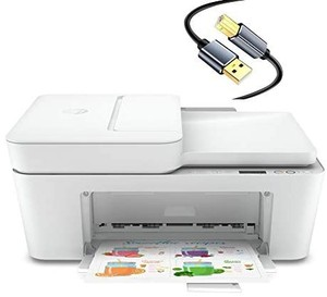 Hp DeskJet Plus 41xx Series All-in-One Color Wireless Bluetooth Inkjet Printer- Instant Ink Ready- Mobile Fax/Print/Copy/Scan for Home Office- Auto Document Feeder, Icon LCD Display-10FT Printer Cable