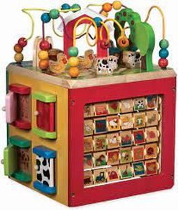 Wooden Activity Cube – Discover Farm Animals Activity Center