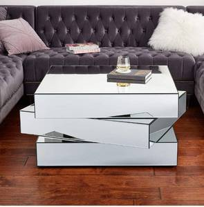 "Retails  $800!!Meridian Furniture Haven Collection Modern Contemporary Mirrored Coffee Table Featuring a Bold Geometric Design, 39.5"" W x 39.5"" D x 18.5"" H"