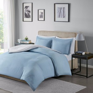King/California King Braydon Reversible Yarn Dyed Striped Duvet Cover Mini Set - Blue