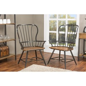 Carbon Loft Rudolph Wood & Metal Vintage Dining Chairs  SET OF 2