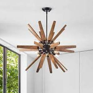 Bernice 8 Light Sputnik Natural Wood Chandelier