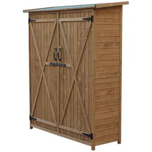 Outsunny Fir Wood Storage Shed w/ Lockable Doors