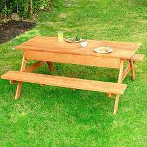 Unfinished Wood Picnic Table w/ Bench Seating