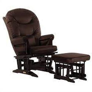 Glider and Ottoman Set: Dutailier Ultramotion Sleigh Glider - Brown/Espresso