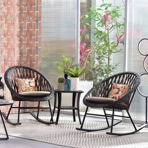 Ovios - 3 Piece Patio Rocking Bistro Set,Patio Outdoor Furniture, Porche Rocking Chairs Conversation Sets with Glass Coffee Table - Retail:$281.49