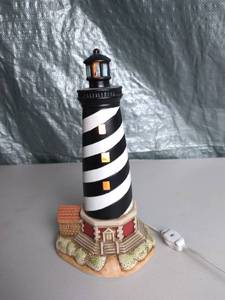Lefton Colonial Village Hand Painted Portable Lighthouse Shaped Lamp - Tested and Working