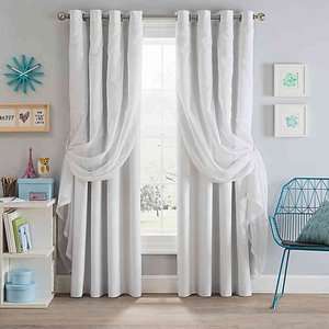 "Sparkle 84"" Grommet Blackout Layered Sheer Window Curtain Panel - White"