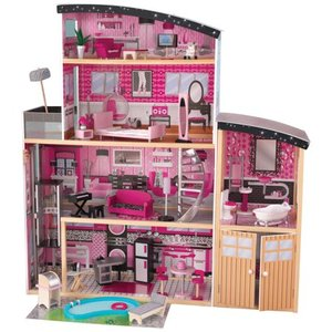 KidKraft Glamorous Sparkle Mansion Curved Roof Dollhouse & Furniture