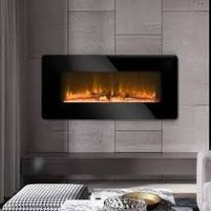 "36"" Electric Fireplace 2 in 1 Logs Wall Mounted or Freestanding Adjustable Heater only Retail:$129.99 black"