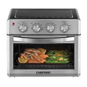 Chefman - 25 L Analog Air Fryer Toaster Oven, 6 Slice, Convection w/ Auto Shut-Off, 60 Min Timer, Stainless Steel/Black - Stainless Steel