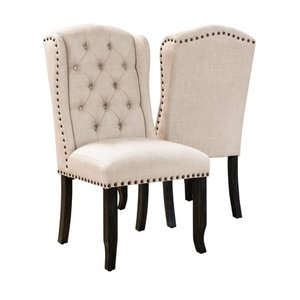 Furniture of America Tays Rustic Linen Fabric Dining Chairs (Set of 2)- Retail:$377.14 beige