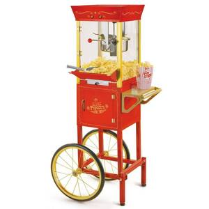 Nostalgia CCP510 Vintage 8-Ounce Professional Popcorn and Concession Cart, 53 Inches Tall, Makes 32 Cups of Popcorn - Red