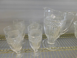 Crystal pitcher w/4 crystal glasses