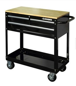 "Husky 36"" 3 Drawer Tool Cart with Wood Top"
