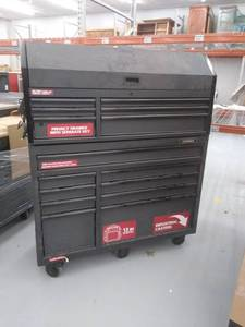 Industrial 52 in. W x 21.5 in. D 15-Drawer Tool Chest and Rolling Cabinet Combo with LED Light in Matte Black USED