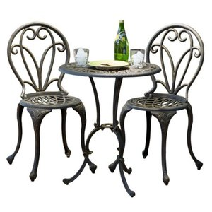 Thomas Cast Aluminum Dark Gold 3-piece Bistro Set by Christopher Knight Home- Retail:$203.49