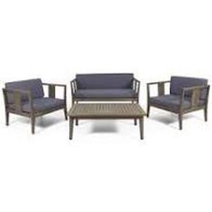 Nicholson Outdoor 4 Seater Acacia Wood Chat Set by Christopher Knight Home- Retail:$679.99 gray and dark gray cushions