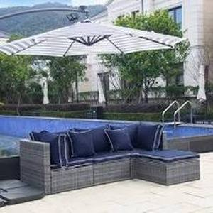 Buxsons 4-Piece Outdoor Wicker Patio Modular Sectional with Cushions- Retail:$599.99 gray and navy