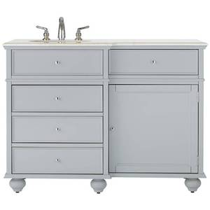 Home Decorators Collection Hampton Harbor 48 in. Vanity in Dove Grey with Natural Marble Vanity Top in White with White Basin