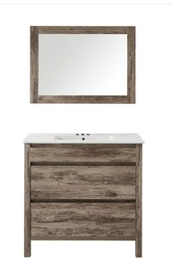 Napoles 36 in. W x 18 in. D x 18 in. H Vanity in Wood Finish PVC with Mirror.White top sink not included