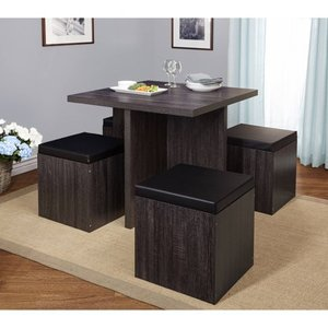 Simple Living 5 piece Baxter Dining Set with Storage Ottomans- Retail:$286.49 black and grey