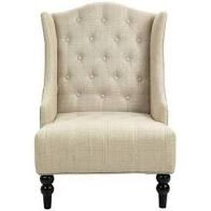 Wingback Tufted Fabric Accent Chair, Vintage Club Seat for Living Room- Retail:$282.99 beige