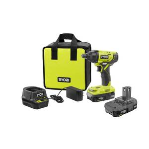 RYOBI 18-Volt ONE+ Lithium-Ion Cordless 1/4 in. Impact Driver Kit with (2) 1.5 Ah Batteries, Charger, and Bag