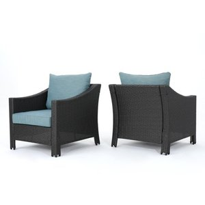 Antibes Outdoor Wicker Club Chair with Cushions (Set of 2) by Christopher Knight Home- Retail:$551.99